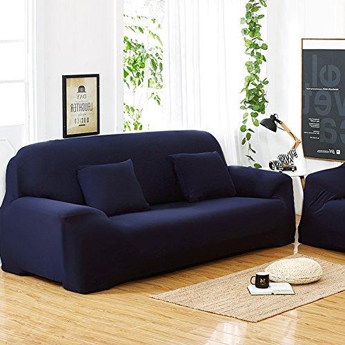 Sofás De 3 Plazas Covers 7 Colores Sólidos Estuche De Estiramiento Completo Tela Elástica Soft Sofá Funda Sofá Protector Muebles De Casa ( Color : Azul Profundo )