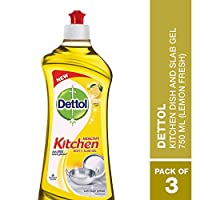 Dettol Kitchen Dish and Slab Gel - Pack of 3 with 750 ml each -Lemon Fresh