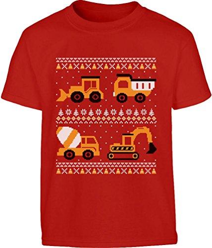 Weihnachtsshirt für Kids BAU Fahrzeuge Kleinkind Kinder T-Shirt Junge 4T Rot