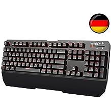 Mechanische Gaming Tastatur ArkarTech® Tastaturen QWERTZ Kabelgebunden USB Rot Beleuchtete 105-Tasten Mechanical Gaming Keyboard-Deutschen Layout