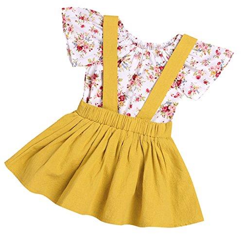 aby Kurzarm Playsuit Strampler Overall Bodysuit Outfit mit Latzkleid Trägerrock Prinzessin Sommer Kostüm - Gelb, 90cm (Einfach 90 Kostüm Ideen)