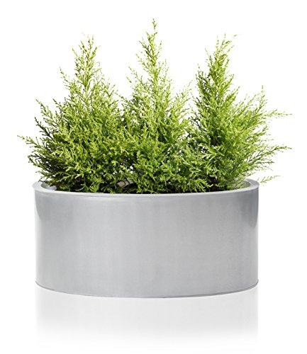 Cache-Pot Oval Bas Gris Argent Zinc Galvanisé - 40 cm