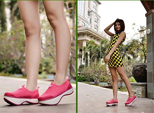LDMB Frauen-Schuhe postpartale Körper-Bildhauerkörper-Trainingsschuhe Net-Gesichts-Ferseschuhe Lendenwirbel-Korrekturschuhe Pink