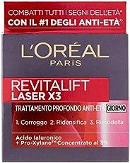 L'Oréal Paris Crema Viso Giorno Revitalift Laser X3, Azione Antirughe Anti-Età con Acido Ialuronico e Pro-