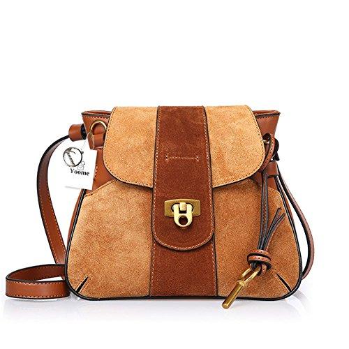 Yoome Nubuck Leder Schultertasche für Damen Satteltasche Vintage Lock Bag Rindleder Geldbörse - Brown
