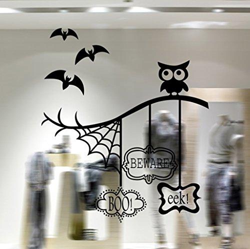 Aoligei Eule Fledermaus Halloween Fenster Wohnzimmer Schlafzimmer Dekoration Wandaufkleber