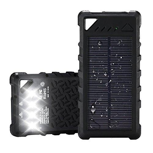 2018 Neuest 16000mAh solar powerbank solar ladegerät Externer Akku Batterie super Tragbar wasserdicht ladegerät mit 4 Led Taschenlampe IP67 wasserdicht zwei USB-Anschlüsse (Led 3')