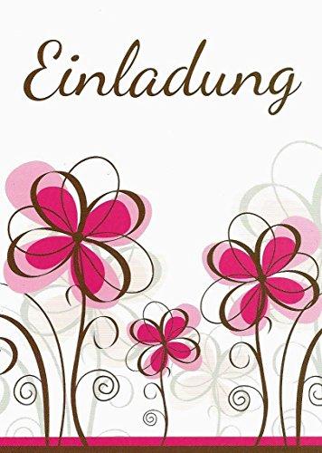 Einladungskarten mit Innentext Motiv: Rosa Blumen 25 Klappkarten DIN A6 mit weißen Umschlägen im Set Einladung für jeden Anlass Hochzeit Geburtstag Party Taufe Kommunion Konfirmation Jugendweihe K15