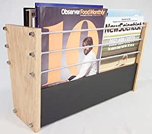 Handmade Natural Slate and Solid Oak Magazine Rack - Modern Contemporary Style