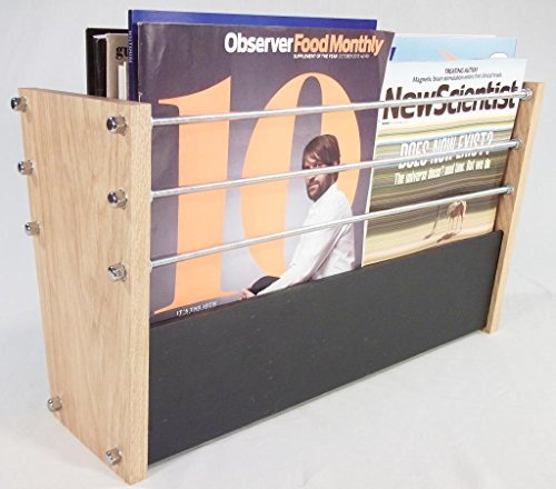 Handmade Natural Slate and Solid Oak Magazine Rack–Modern Contemporary Style by Oak Slate Design (Rack Magazine Folding)