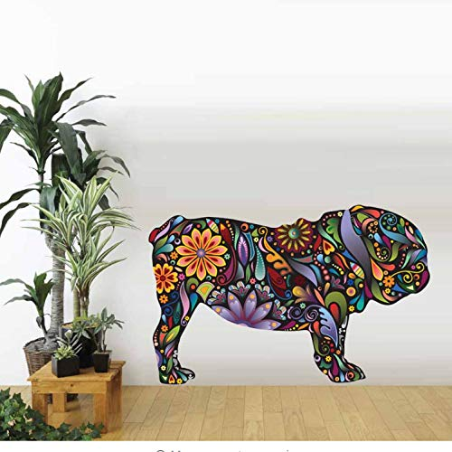 akeansa Wall Stickers Art Sticker Murals Decal Decals Children Vinyl Colorful English Beagle Dog Floral Flower Pattern Wall Decals Animal Wall for Kids Room DIY Wall Home Decor -