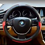 Couvre Volant Voiture Respirante Antidérapante 100% Vraiment Cuir Housse de Volant de Voiture pour Voiture/Camion/SUV Noir et Rouge 38cm