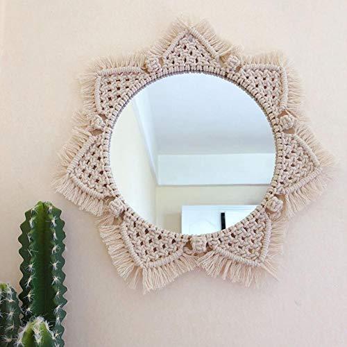 Specchio rotondo della Boemia, decorazione fatta a mano dello specchio della parete di attaccatura della corda del cotone fatta mano di Macrame
