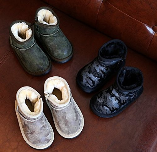 Ohmais Enfants Garçon Fille bottes et bottines botte classiques fille petit talons Chaussure Kaki