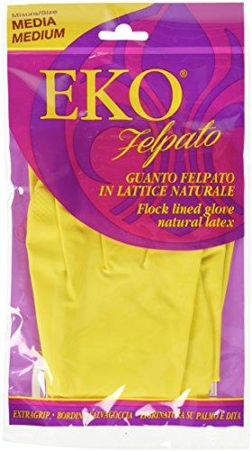 Latex-plüsch (Eko pro4flg7m Handschuh Latex innen Plüsch in Flock-Baumwolle natur, 48gr, Media 100Stück)