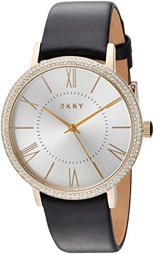 DKNY Femme 38MM Bracelet Cuir BOITIER Acier Inoxydable Quartz Montre NY2544