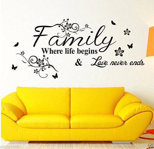 Familie Wandbild Art Wand Aufkleber Vinyl Aufkleber Home Decor (schwarz) (Eclipse Home Decor)