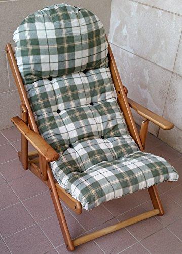 Liberoshopping poltrona sdraio casa giardino relax in legno pieghevole cuscino super imbottito h 100 cm soggiorno cucina salone divano regolabile 3 posizioni