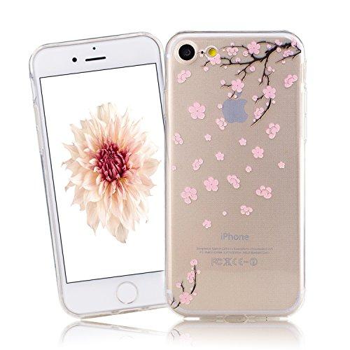 Cover iPhone 7, CaseLover iPhone 7 4.7 Pollici Cover Custodia Trasparente Rigida Flexible TPU Gel Silicone Ultra Sottile non è Facile Sbiadito Prevenire Graffi Disegno Bella Modello per Apple iPhone 7 prugna Fiore