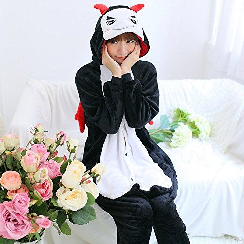 MH-RITA Cute Cartoon Tier Rosa Stich Einhorn Cat Kaninchen Pyjama Winter nach Einhorn Schlafanzug Langarm Flanell Schlafanzug für Frauen, Teufel, (Cute Für Kostüme Erwachsene Devil)