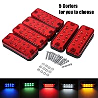 VGEBY 6Pcs 12V 8 LEDs Side Marker Light Lamp Truck Trailer Lorry Clearance Indicator Lamp (red)