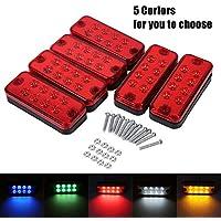 6Pcs 12V 8 LED Luz de Marcador Lateral Lámpara Indicadora Lateral para Vehículos ( Color : Rojo )