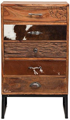 Kommode Rodeo, kleiner, schmaler Kommodenschrank mit 5 Schubladen, moderner Beistellschrank, Hochkommode, braun (H/B/T) 88,5x50x30cm
