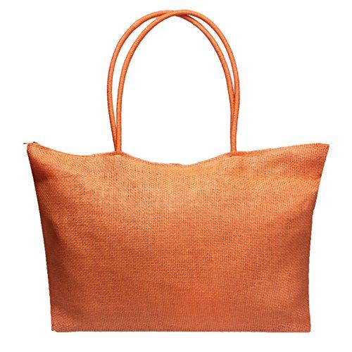 Skang Deman Stroh Handtasche Shopper Schultertasche Einfarbig Casual Umhängetasche Mit Reißverschluss Strandtasche (Einheitsgröße,Orange) -