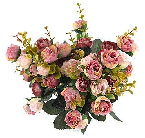 Fiori secchi e confezione da 21 pezzi, in seta, a forma di rose, finto bouquet, matrimonio, decorazione per la casa, confezione da 2 pezzi, color rosa e caffè - 3