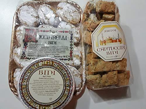 offerta tris di prodotti artigianali Antica pasticceria Bini di Siena 500gr.Ricciarelli, 500gr.Panforte, 500gr.Cantuccini