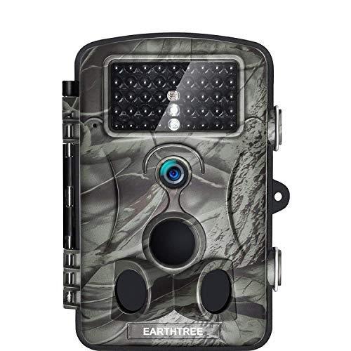 """EARTHTREE Wildkamera Fotofalle Full HD 1080P 12M Jagdkamera mit 120°Weitwinkel Objektiv Fotofalle, 42 Low Glow Infrarot LEDs, 20m Nachtsicht, 2.4\"""" LCD Display, Wasserdichte"""