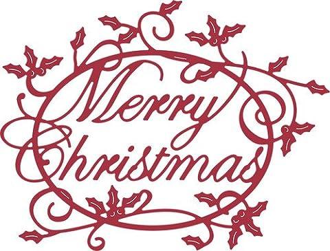 CHEERY LYNN MERRY CHRISTMAS HOLLY SENTIMENT CUTTING EMBOSSING CRAFT DIE STENCIL