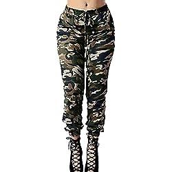 DOGZI Pantalones Mujer Cintura Alta Camuflaje Militar Impreso Ejercito Verde Pantalones de Vendaje Casual Suelto Pantalones