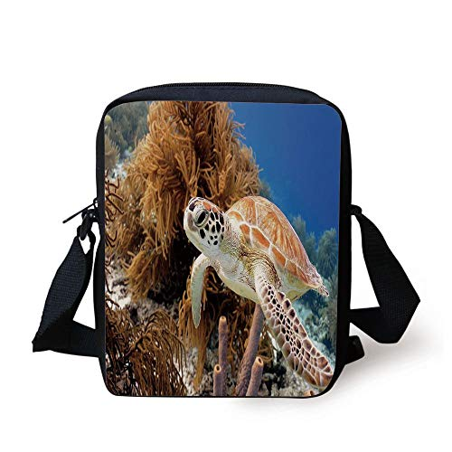 KLYDH Turtle,Coral Reef and Sea Turtle Close Up Photo Bonaire Island Waters Maritime,Light Coffee Brown Blue Print Kids Crossbody Messenger Bag Purse -