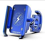 Bicicleta de montaña CNC Soporte de teléfono móvil Perezoso Coche eléctrico Universal navegación rotativa aleación de Aluminio Soporte para teléfono móvil, Azul