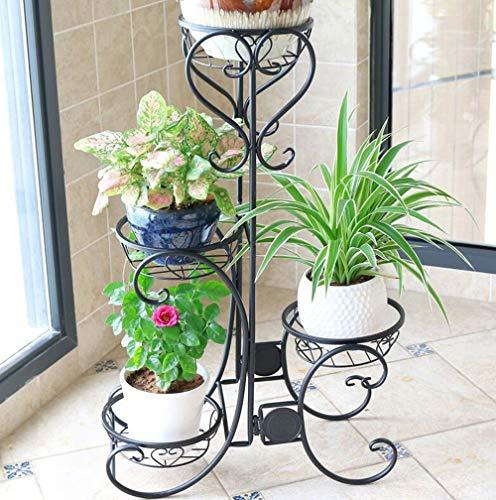 Xzgden espositore per fiori da balcone, espositore per piante in vaso da pavimento in ferro battuto 3, supporto per rack di fioriera da interno/esterno (colore : black 4 layers)