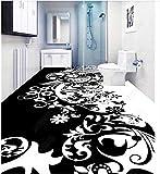 BZDHWWH Benutzerdefinierte Foto 3D Bodenbelag Wandbild Selbst - Adhäsion Wandaufkleber 3 D Schwarz-Weiß-Muster Schöne 3D Wand Zimmer Wandbilder Tapete,200Cm X 300Cm