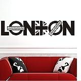 QHGstore Arte de la pared removible Adhesivos de Londres Britpop de pared de vinilo pegatinas pared del arte de la etiqueta Negro 92*20cm