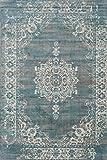 LIFA LIVING Vintage Teppich | im schönen Vintage Muster | für Wohnzimmer und Schlafzimmer | Farb und Größen Variationen | (Grau/Blau, 133 x 200 cm)