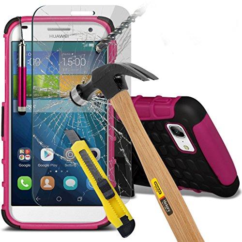 Étui Housse etui cas de haute l'impact robuste solide et durable Survivor dur résistant Heavy Duty Case arrière de peau de couverture et de protection écran (Blanc) Apple iPhone 6 (4,7 pouces) manches Shock proof + Pen+ Glass SP (Hot Pink)