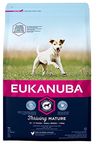 Eukanuba Mature Trockenfutter für kleine Rassen mit verbesserter und neuer Rezeptur – Hundefutter für reife Hunde im Alter von 8-11 Jahren in der Geschmacksrichtung Huhn – 1 x 3kg Beutel