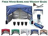 Mcc@home Gazébo/kioske/pavillon/ tente/tonnelle/auvent/abri de jardin résistant à l'eau, 3x3m, couleur bleue avec couche protectrice argentée, 2 barres pare-vent et sacs de lestage