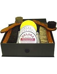 DELARA Conjunto de limpieza de zapatos de 9 piezas en caja negra con relieve de oro