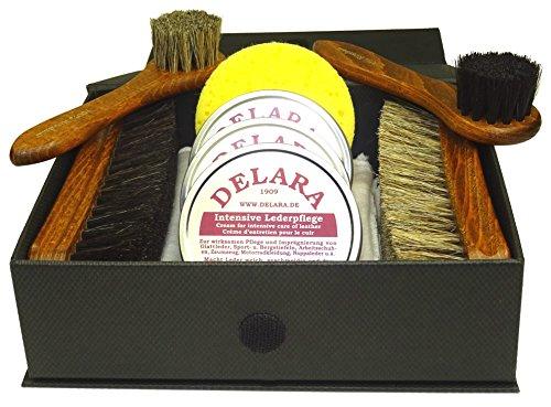 DELARA 9-teiliges, exklusives Schuhputzset mit Intensiver Lederpflege in drei Farben in schwarzer Box mit Goldprägung