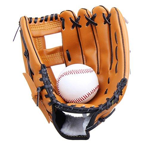 Yiiquan Unisex Gant de Baseball Cuir Outfield Softball Glove Plus Épais pour Enfants Adulte (Marron, Asia L)