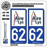 blasonimmat 2 Autocollants Plaque immatriculation Auto 62 Aire-sur-la-Lys - Ville
