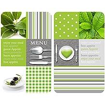 WENKO 2521449100 Cubierta de cocina Universal Menu - juego de 2 piezas para todos los tipos de cocinas, Vidrio endurecido, 30 x 1.8-4.5 x 52 cm, Multicolor