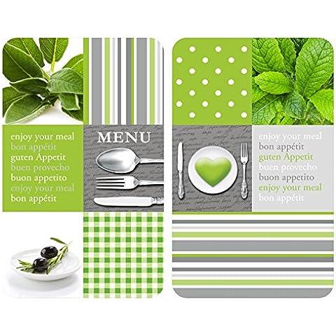 WENKO 2521449100 Cubierta de cocina Universal Menu - juego de 2 piezas para todos los tipos de cocinas, Vidrio endurecido, 30 x 1.8-4.5 x 52 cm,