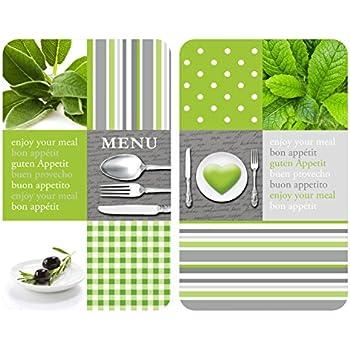 Wenko 2045495 Protège Plaque Universel Motif Menu Verre Multicolore Lot De 2