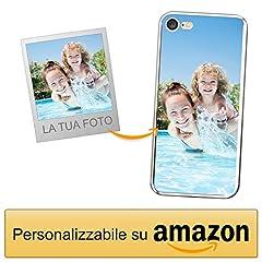 Idea Regalo - Coverpersonalizzate.it Cover Personalizzata per Apple iPhone 7/8con la Tua Foto, Immagine o Scritta - Custodia Morbida in TPU Gel Trasparente - Stampa di altissima qualità
